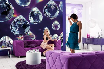 Crystals Purple wall mural wallpaper